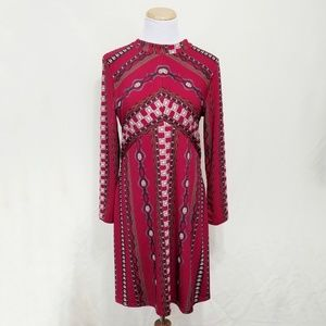 Free People Stella mini dress red boho long sleeve